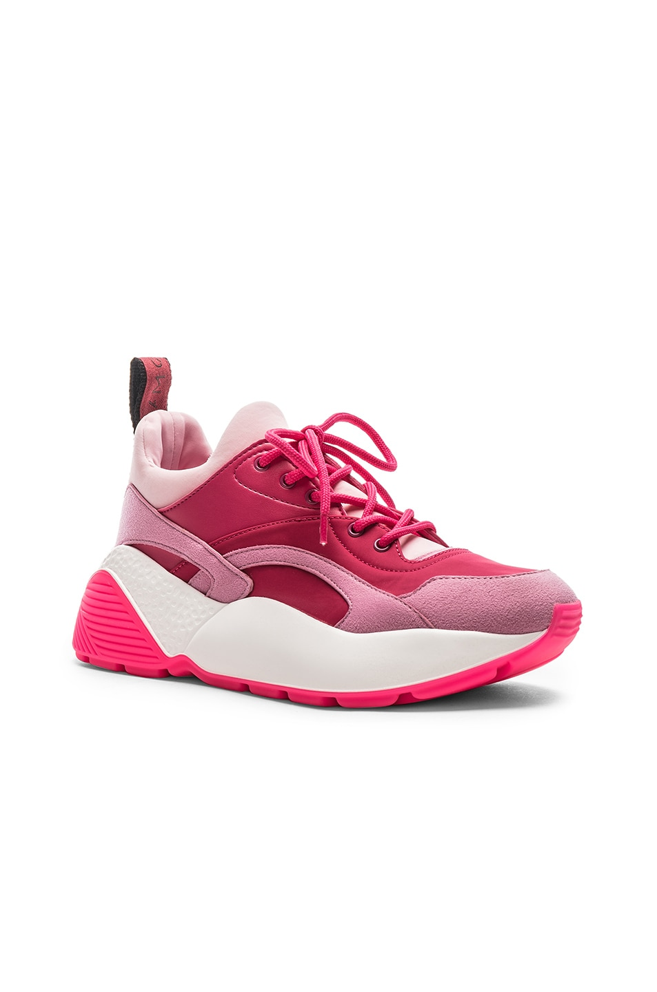 Image 2 of Stella McCartney Eclypse Lace Sneakers in Rose & Fuchsia