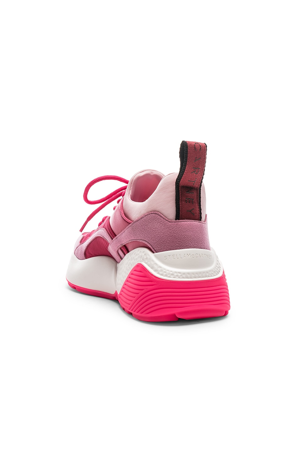 Image 3 of Stella McCartney Eclypse Lace Sneakers in Rose & Fuchsia