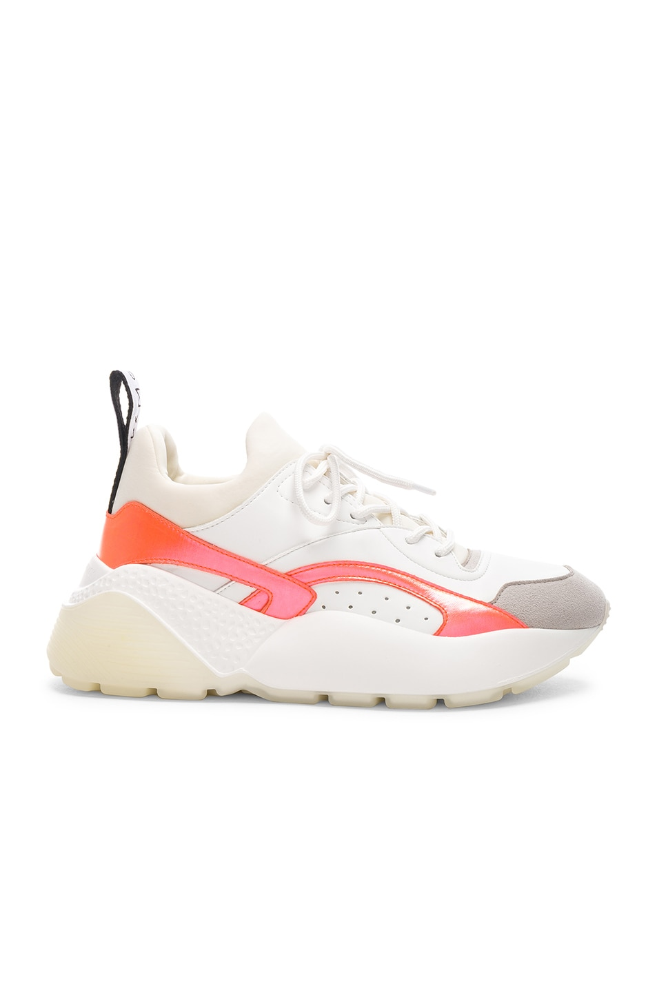 Image 1 of Stella McCartney Eclypse Lace Sneakers in White & Orange