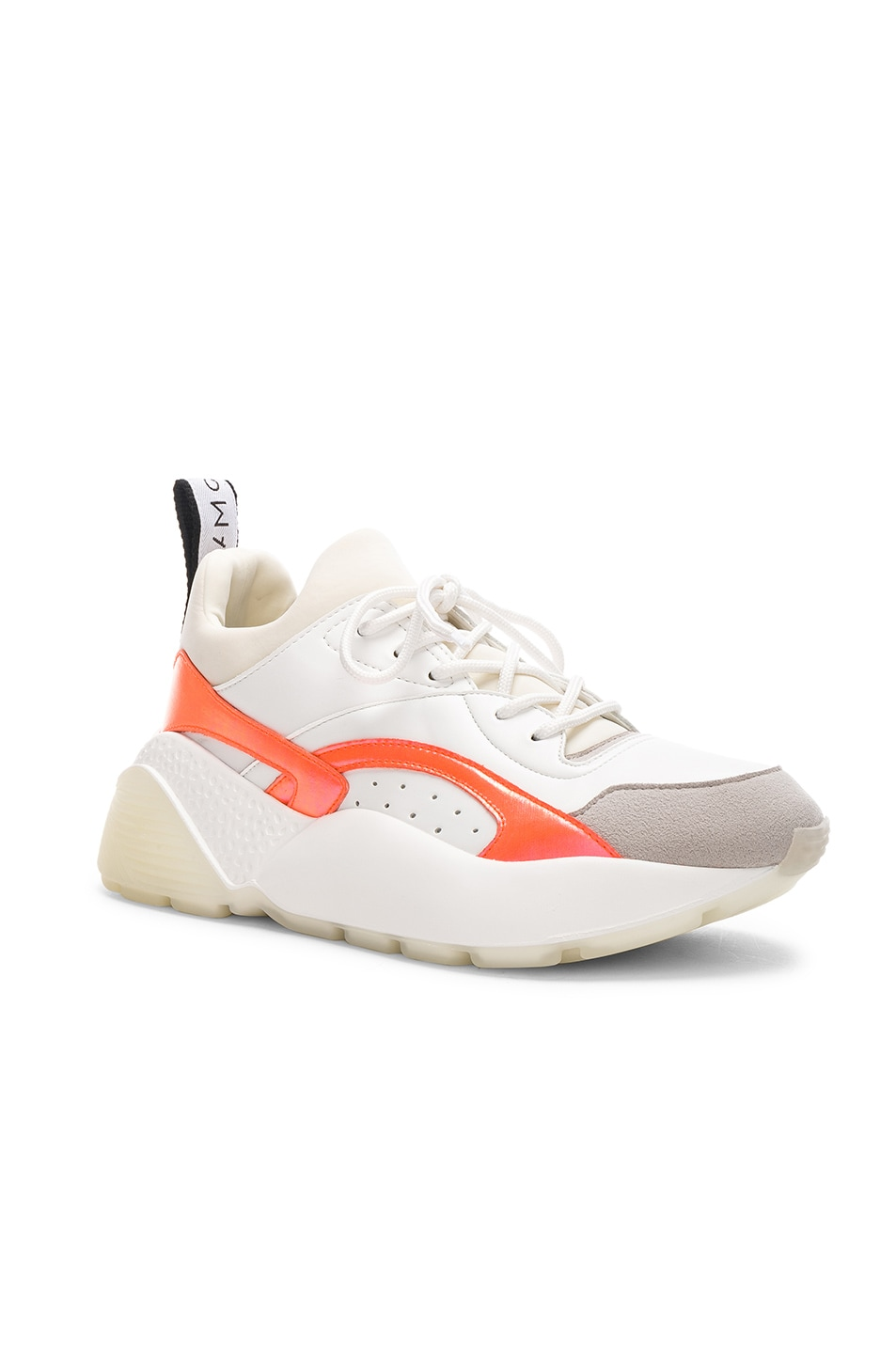 Image 2 of Stella McCartney Eclypse Lace Sneakers in White & Orange