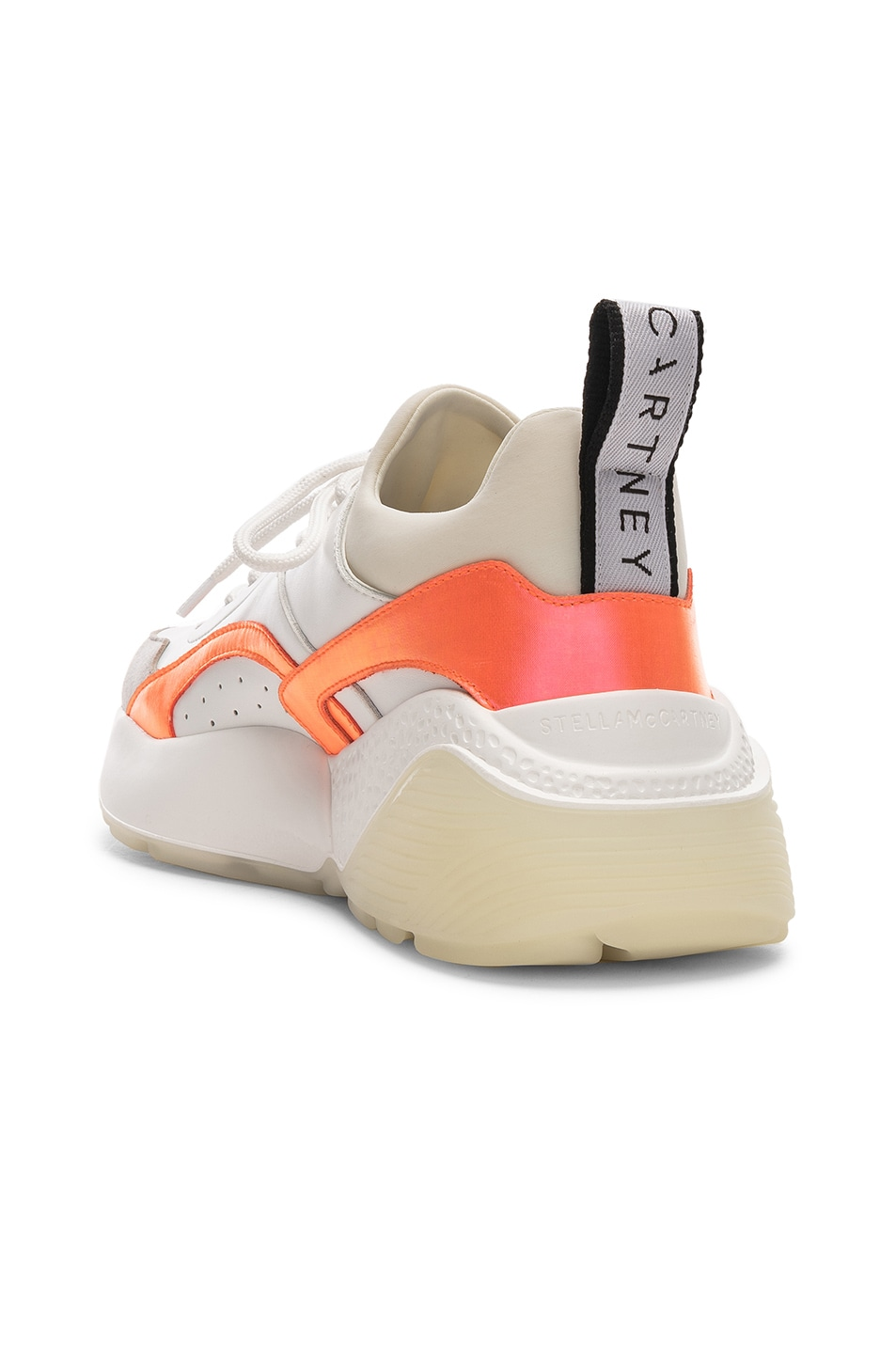 Image 3 of Stella McCartney Eclypse Lace Sneakers in White & Orange