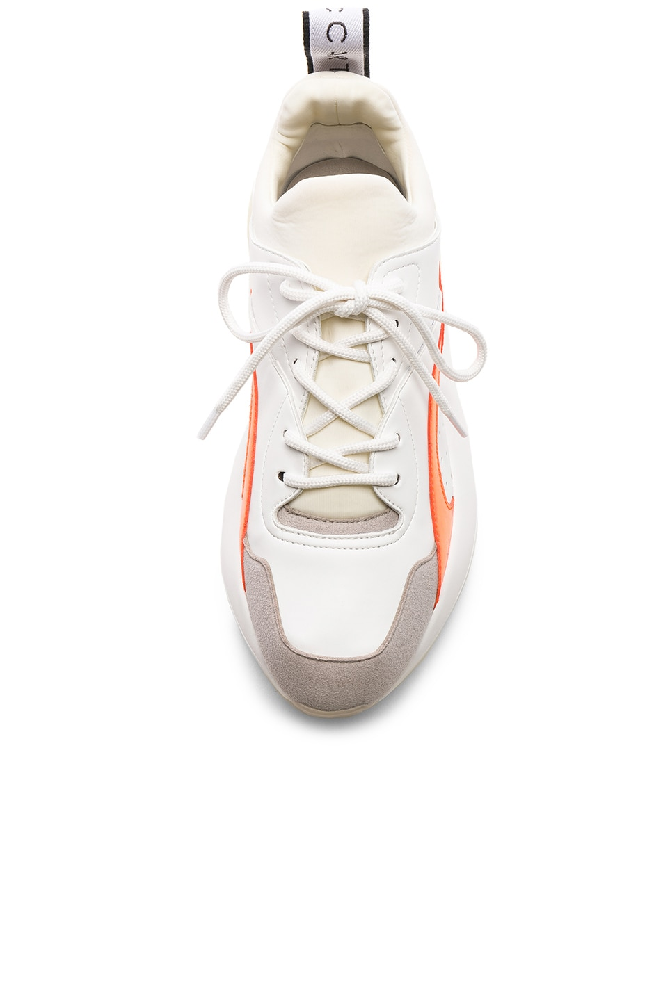 Image 4 of Stella McCartney Eclypse Lace Sneakers in White & Orange