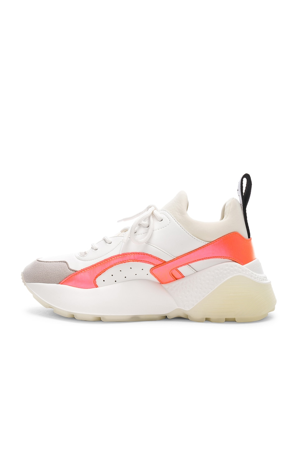 Image 5 of Stella McCartney Eclypse Lace Sneakers in White & Orange