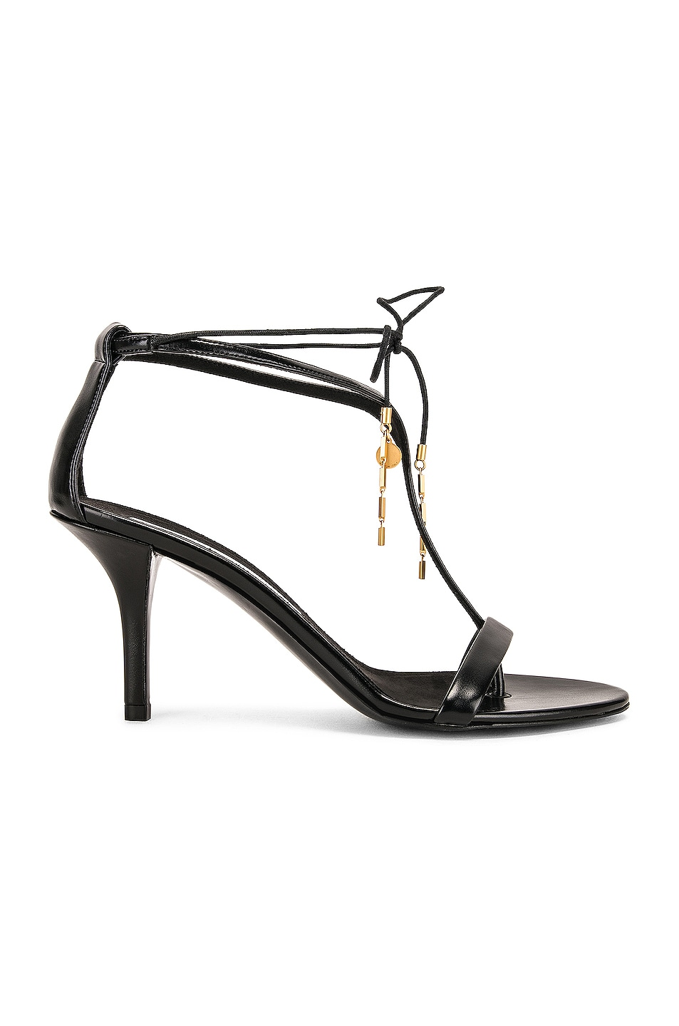 Image 1 of Stella McCartney Tie Heeled Sandals in Black & Black