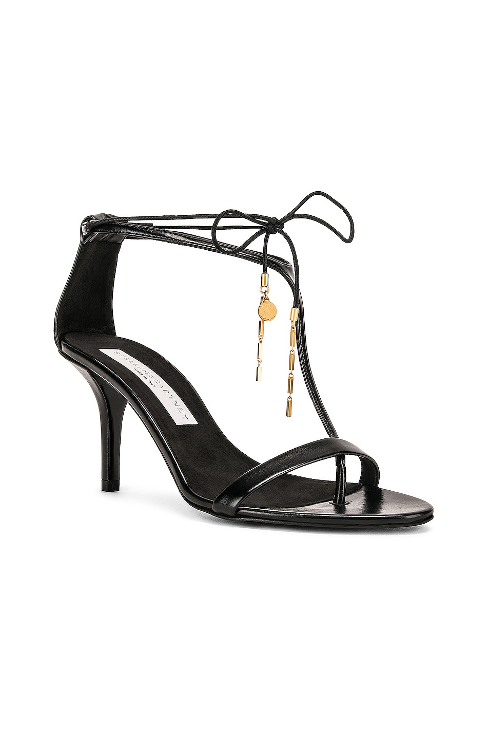 Image 2 of Stella McCartney Tie Heeled Sandals in Black & Black