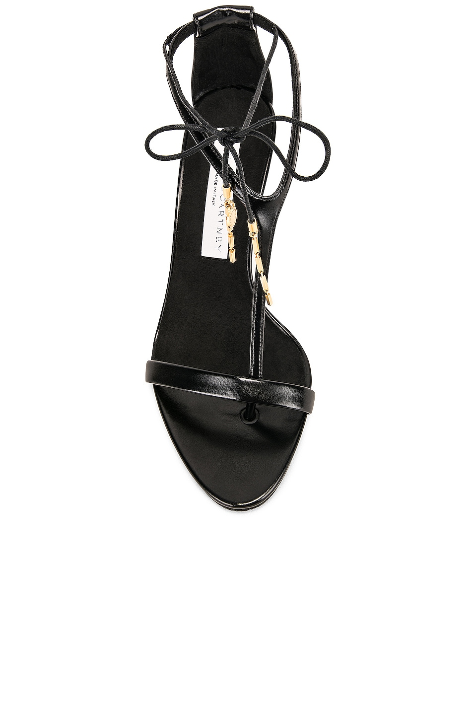 Image 4 of Stella McCartney Tie Heeled Sandals in Black & Black