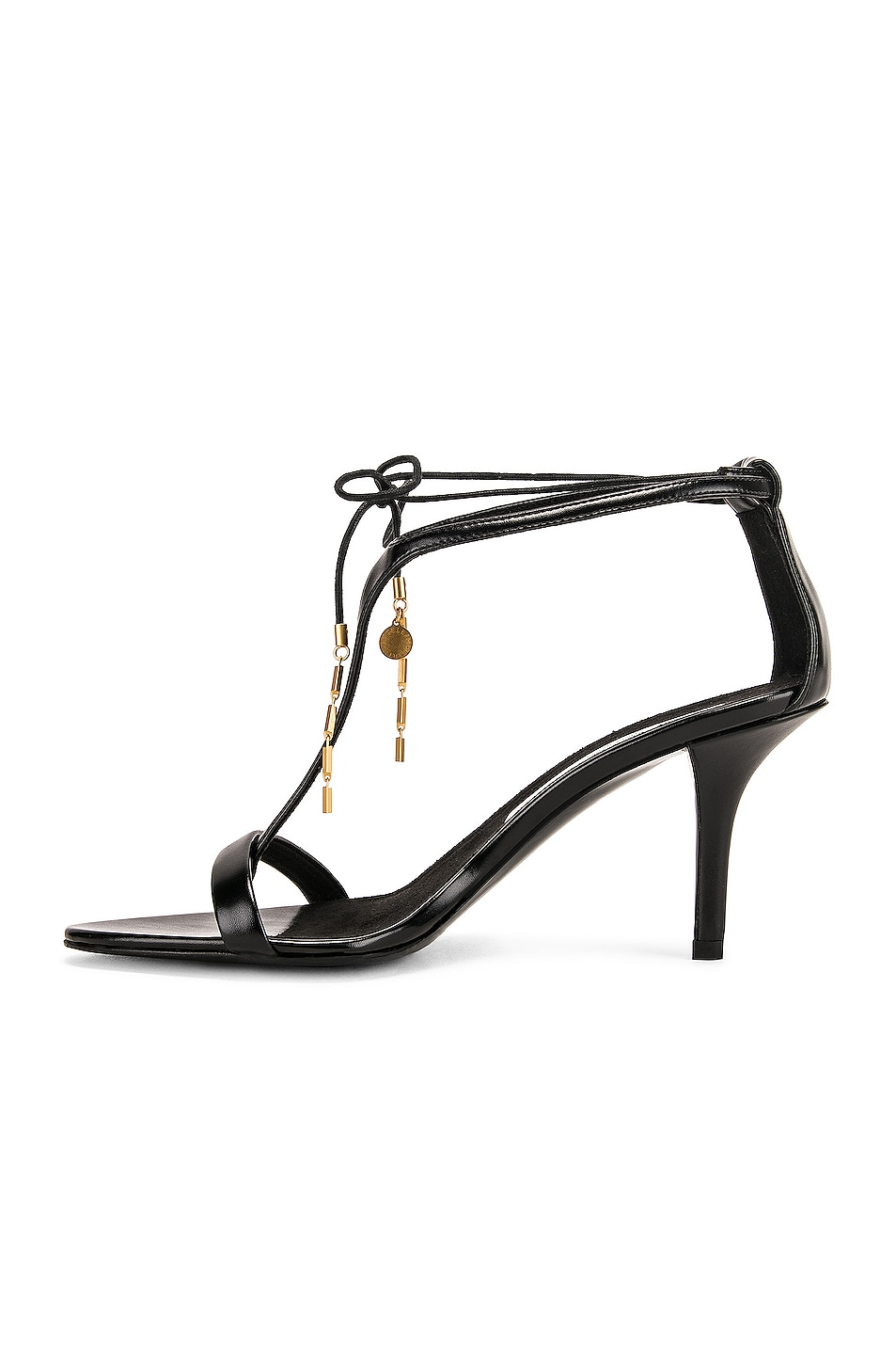 Image 5 of Stella McCartney Tie Heeled Sandals in Black & Black