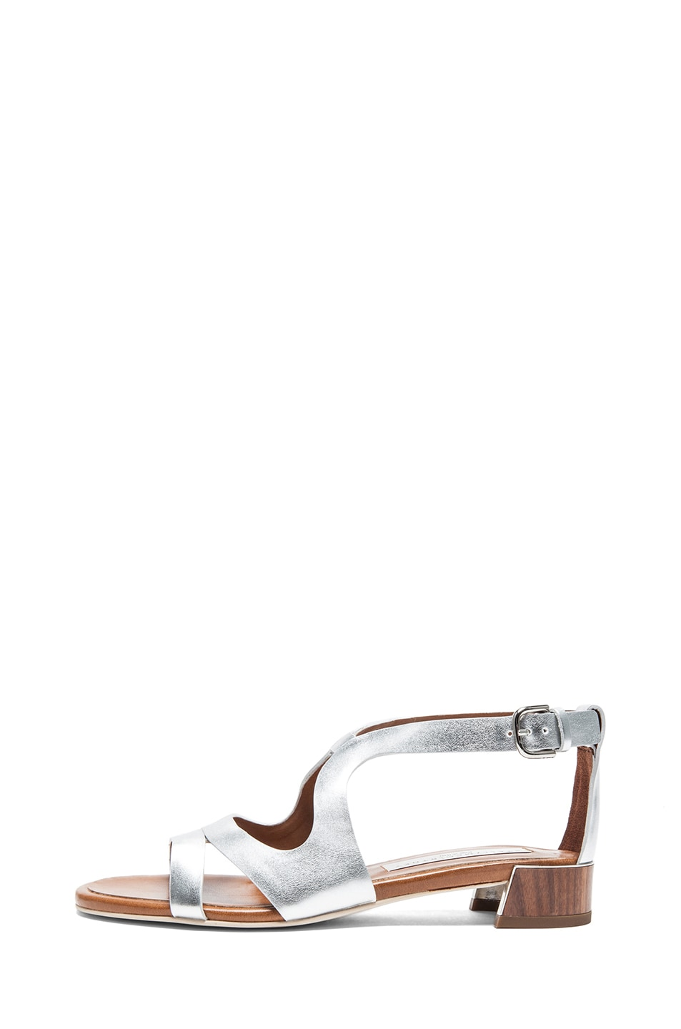 Image 1 of Stella McCartneyFaux Leather Flat Sandals in Silver