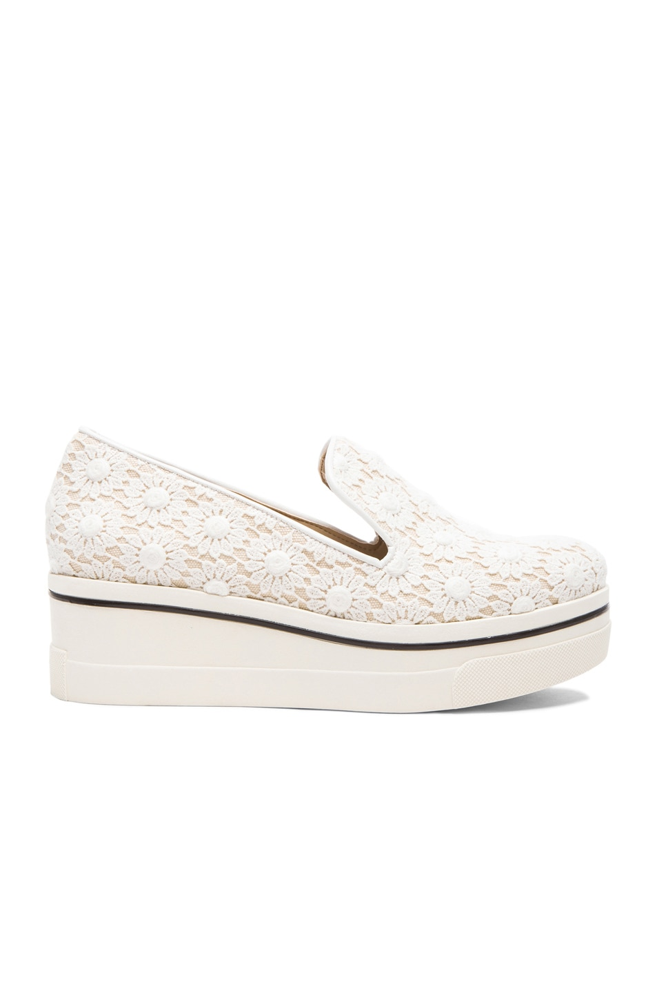 Image 1 of Stella McCartney Lace Loafer Wedges in White