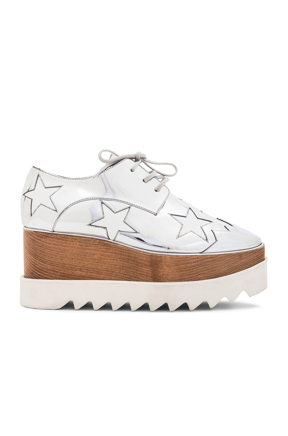 Image 1 of Stella McCartney Elyse Faux Leather Star Platforms in Silver