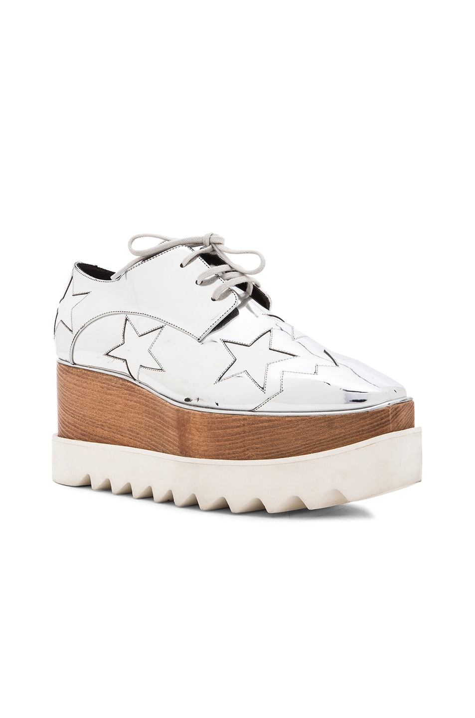 Image 2 of Stella McCartney Elyse Faux Leather Star Platforms in Silver