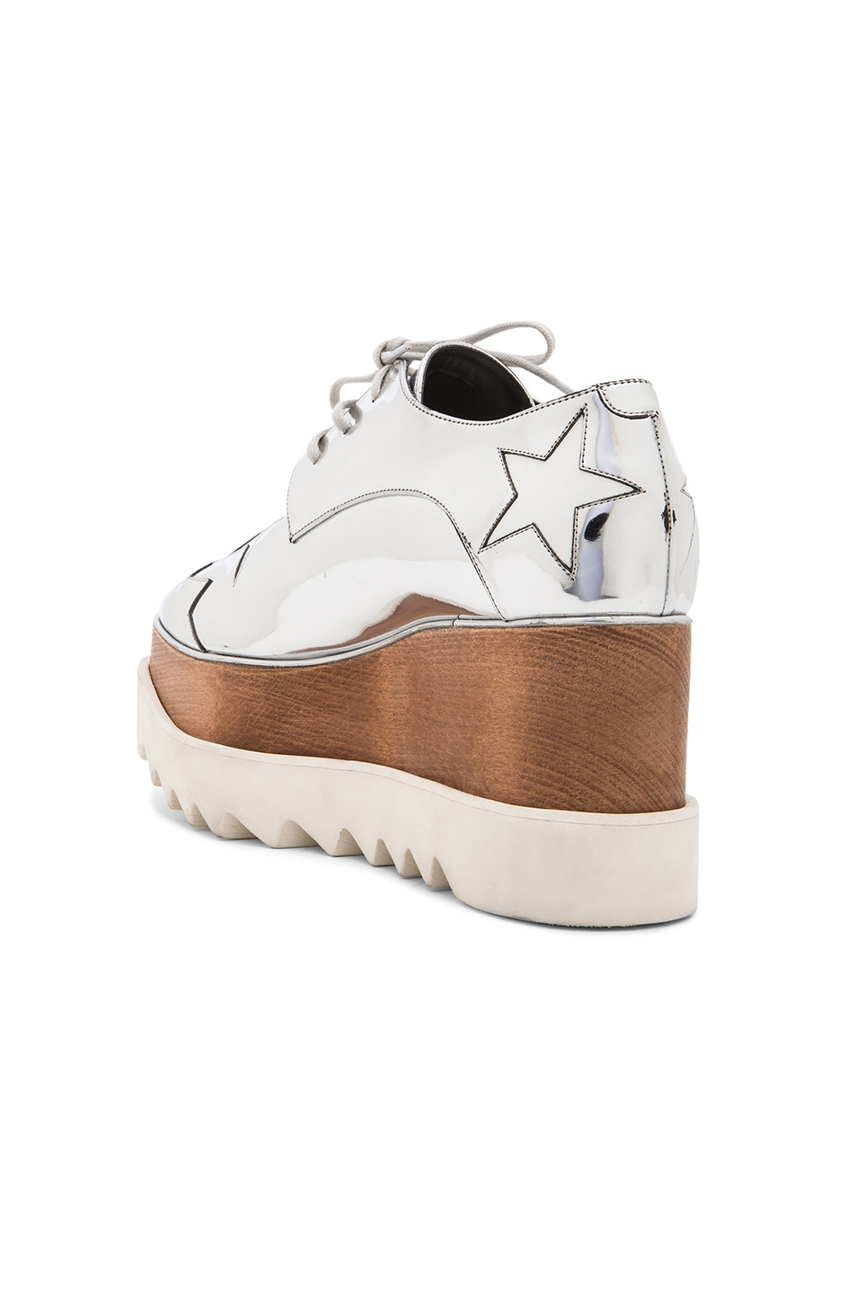 Image 3 of Stella McCartney Elyse Faux Leather Star Platforms in Silver