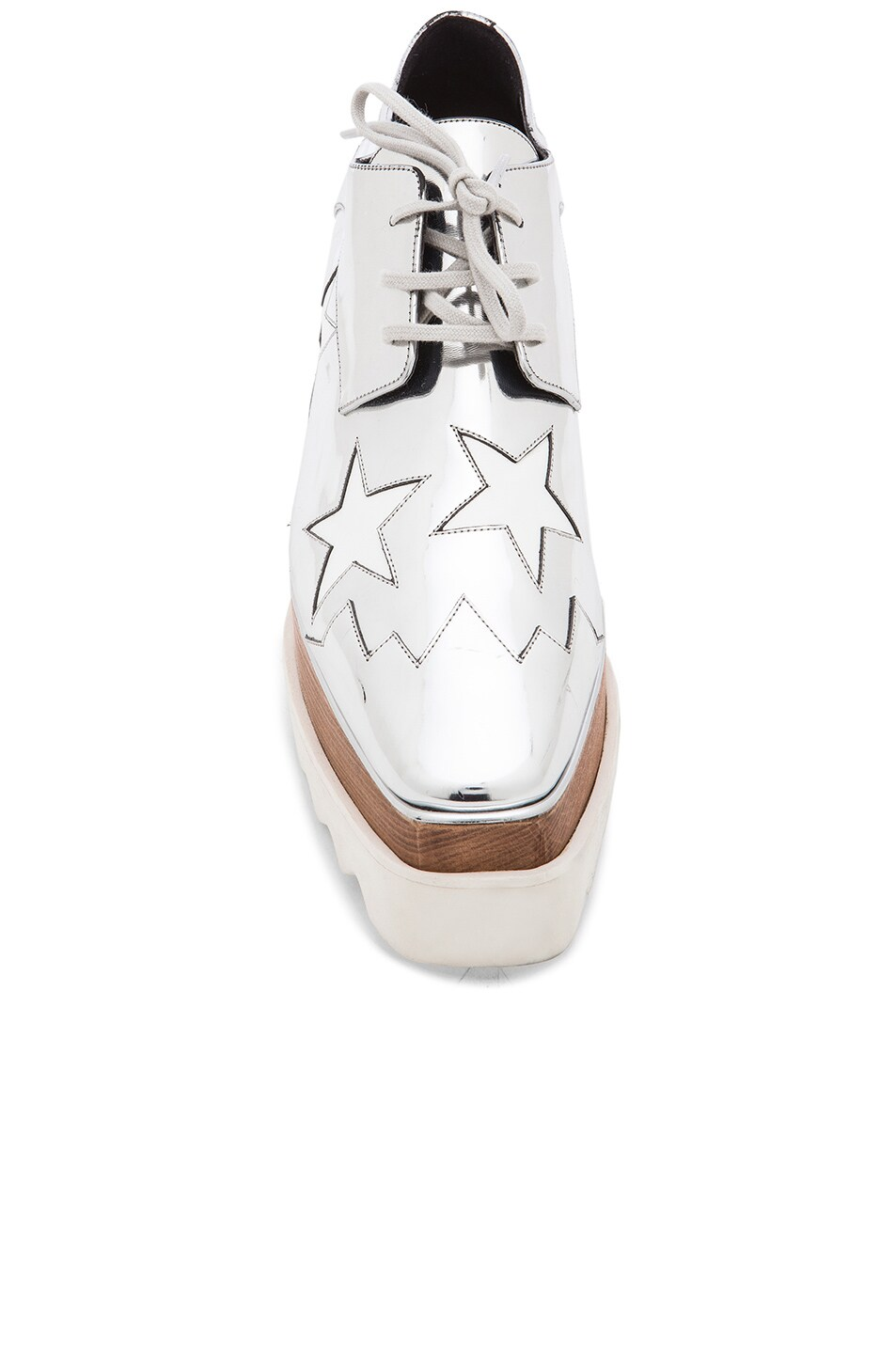 Image 4 of Stella McCartney Elyse Faux Leather Star Platforms in Silver