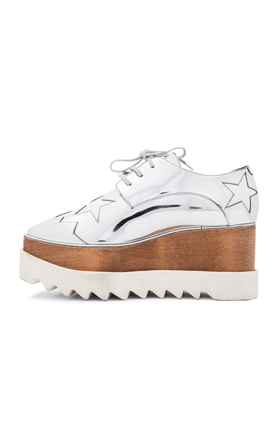 Image 5 of Stella McCartney Elyse Faux Leather Star Platforms in Silver