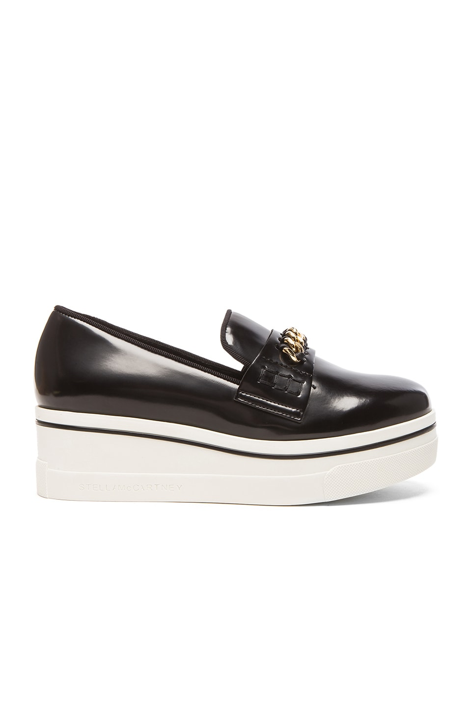 Embellished Faux Leather Platform Slip-On Sneakers in Black