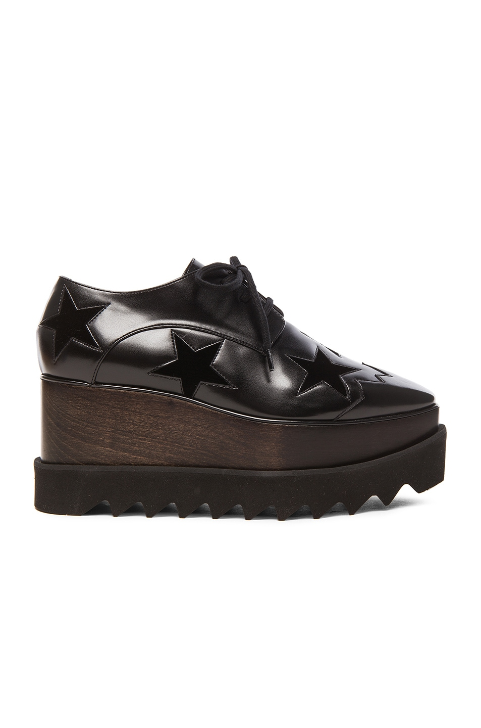 Image 1 of Stella McCartney Elyse Faux Leather Star Platform Wedges in Black