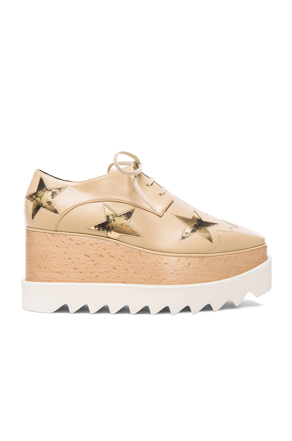 Image 1 of Stella McCartneyElyse Faux Leather Star Platform Wedges in Nude