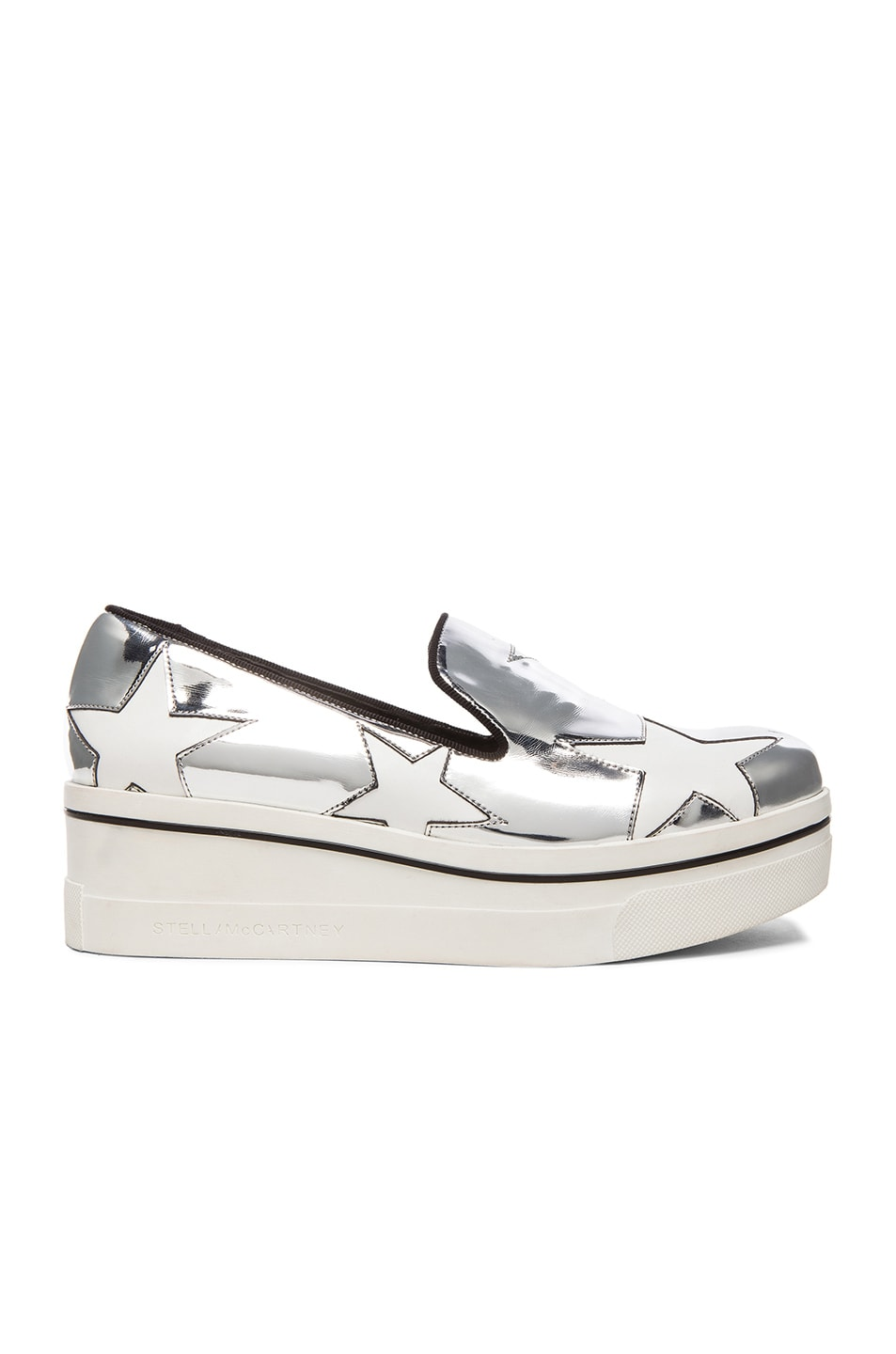 Image 1 of Stella McCartneyBinx Star Platform Shoes in Indium, Black & White