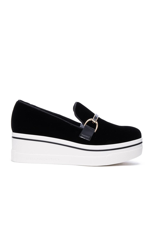 Image 1 of Stella McCartneyBinx Velvet Platform Loafers in Black