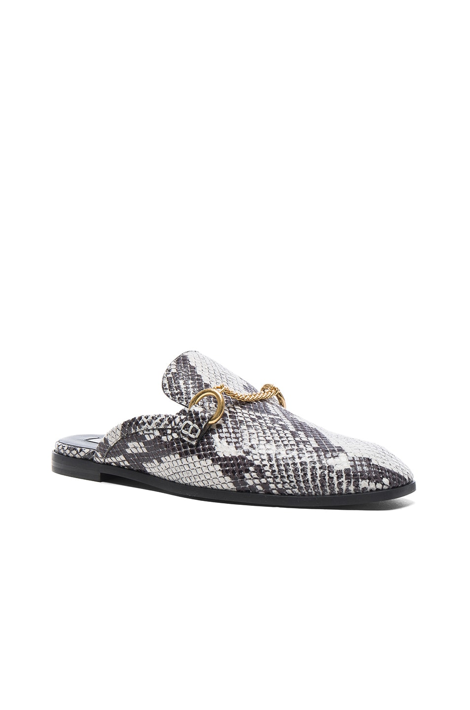 Image 2 of Stella McCartney Buckle Loafers in White & Black