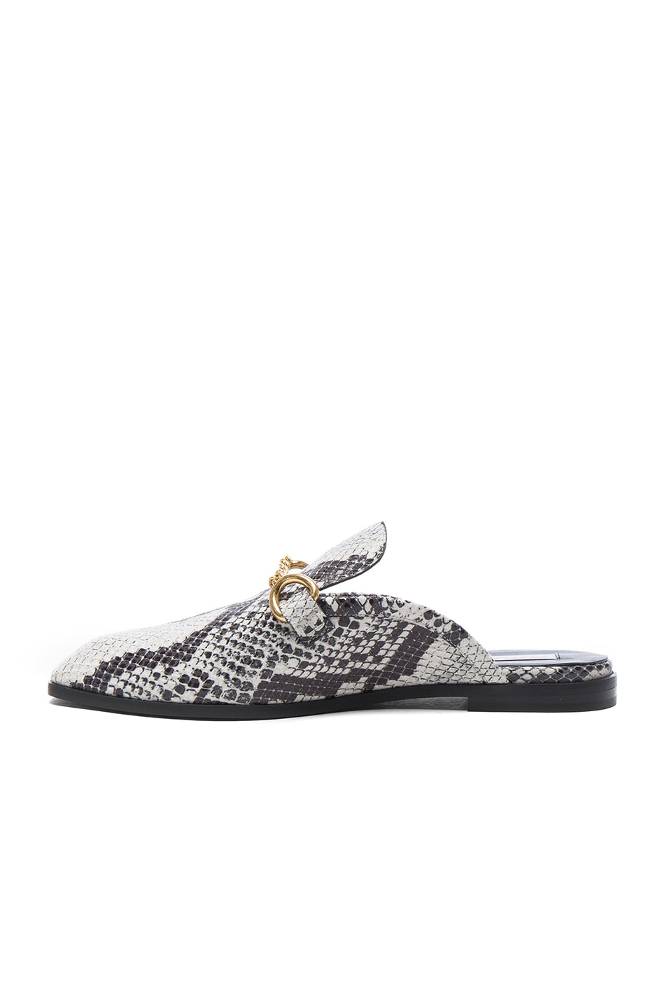 Image 5 of Stella McCartney Buckle Loafers in White & Black
