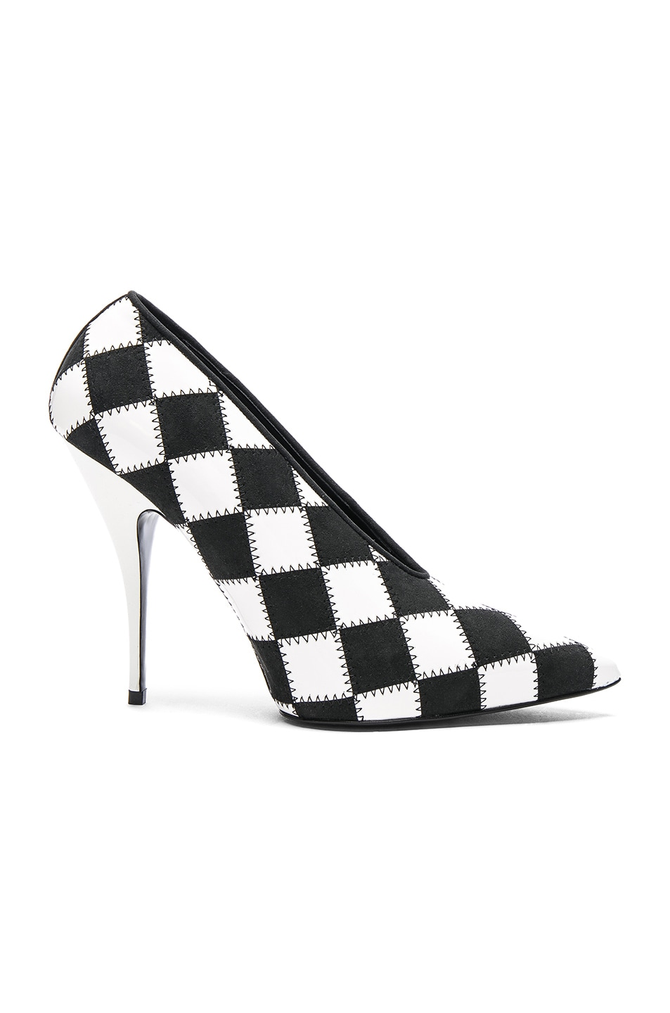 Image 1 of Stella McCartney Checkered Print Heels in White & Black