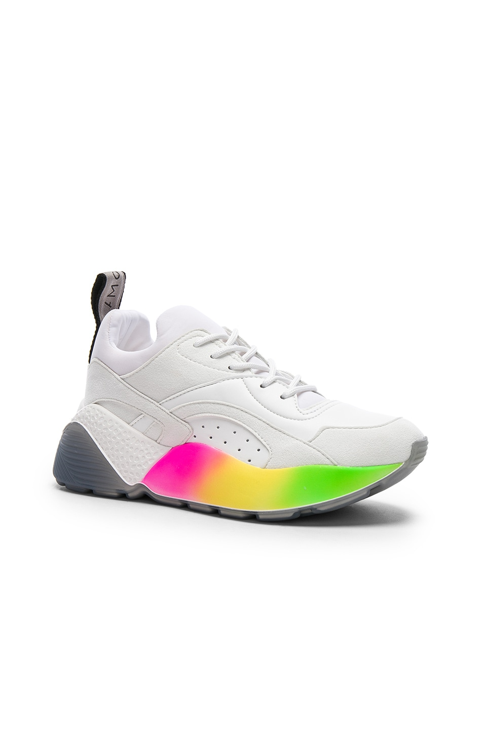 Image 2 of Stella McCartney Eclypse Rainbow Sneakers in White & Multicolor