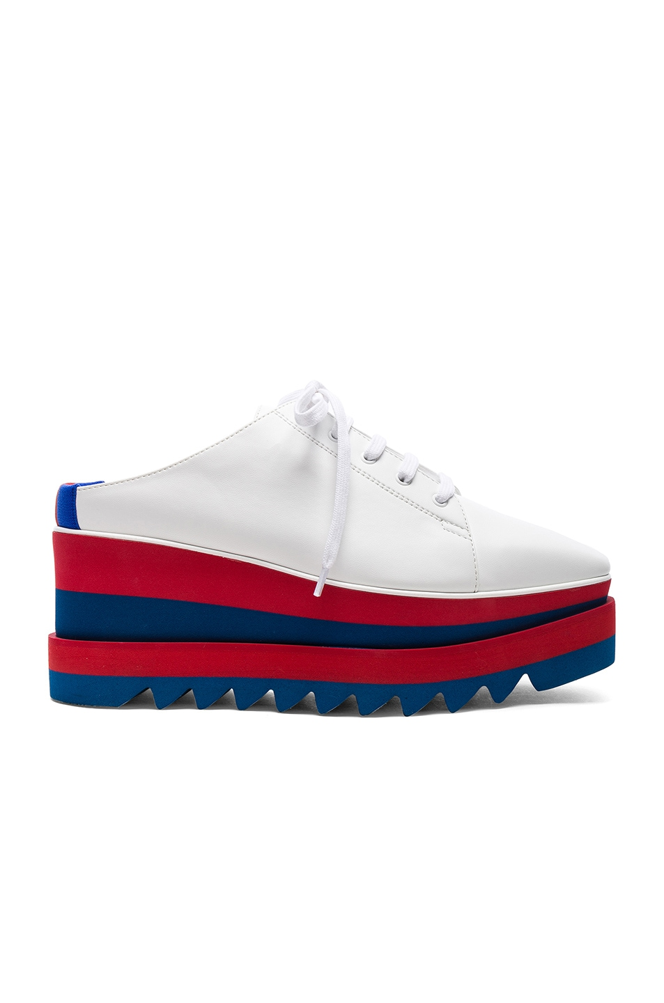 Image 1 of Stella McCartney Platform Wedge Oxford Mules in White, Red & Blue
