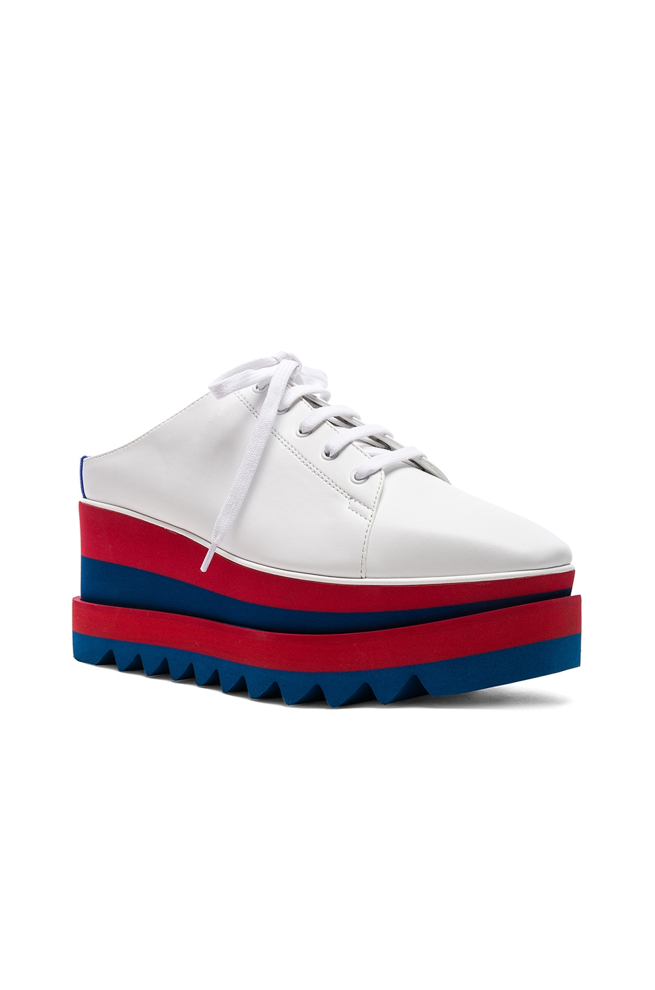 Image 2 of Stella McCartney Platform Wedge Oxford Mules in White, Red & Blue