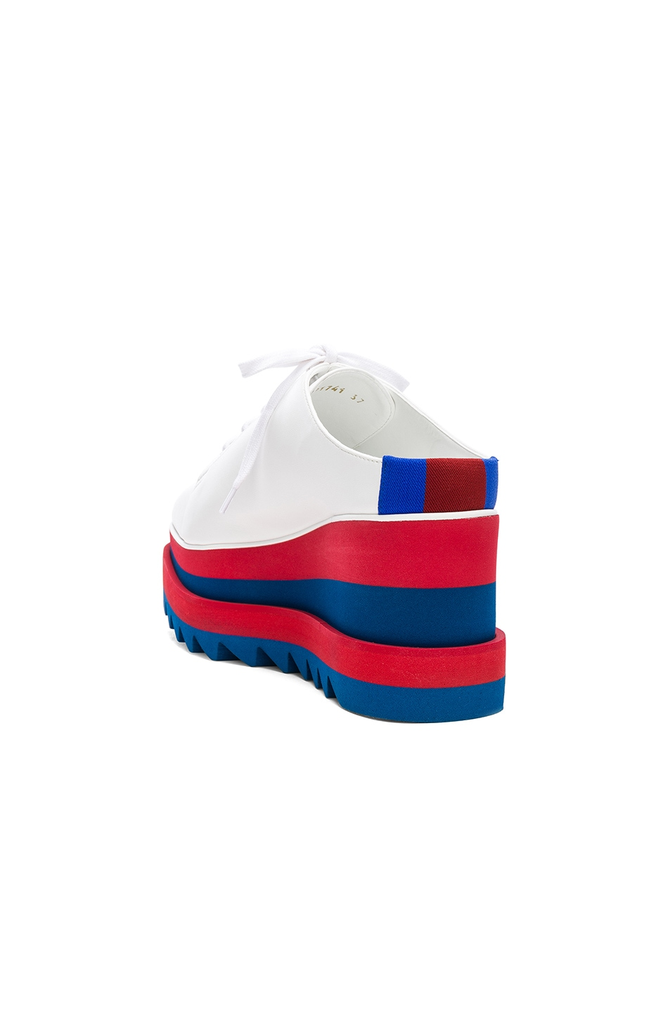 Image 3 of Stella McCartney Platform Wedge Oxford Mules in White, Red & Blue
