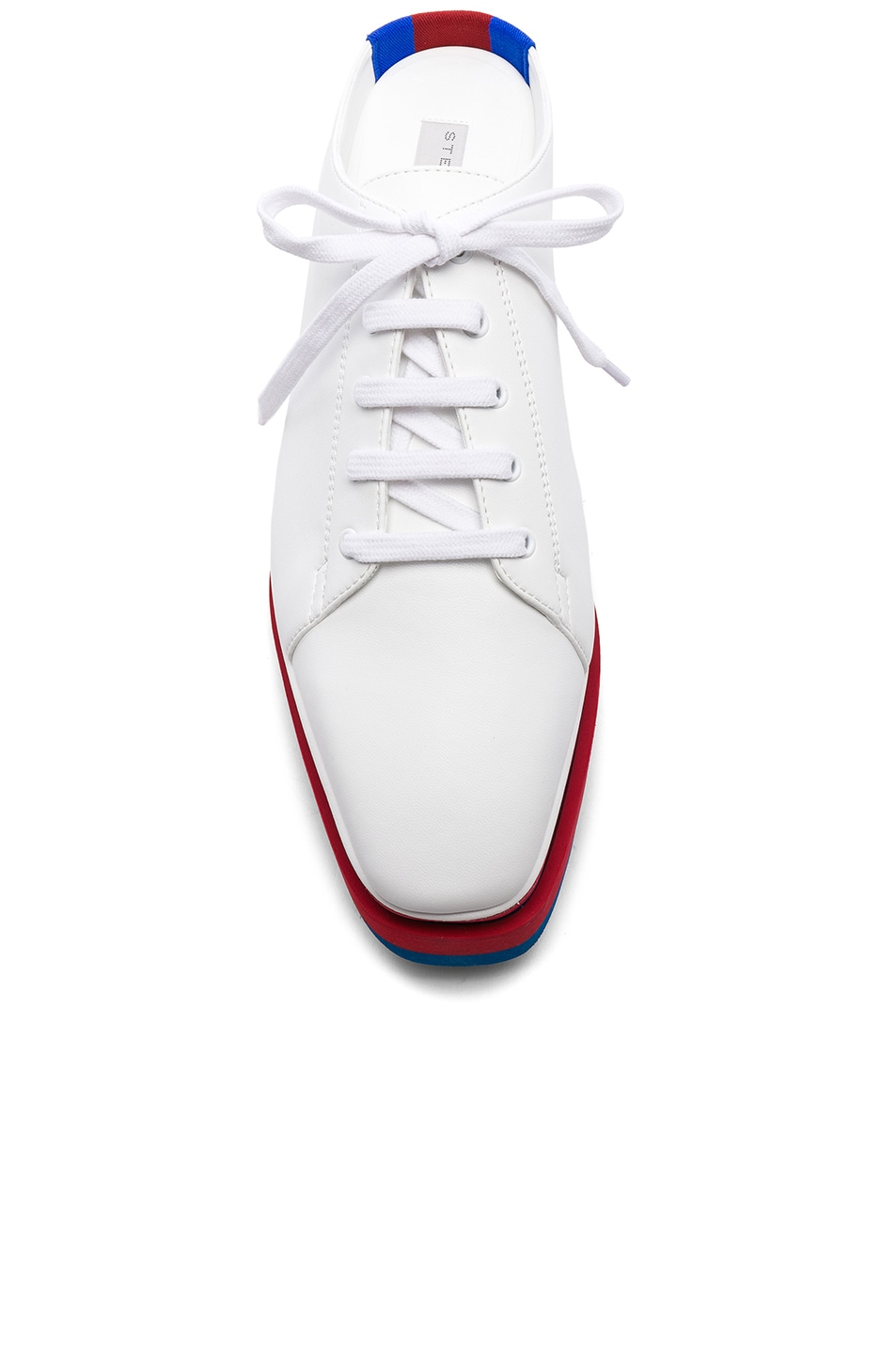 Image 4 of Stella McCartney Platform Wedge Oxford Mules in White, Red & Blue