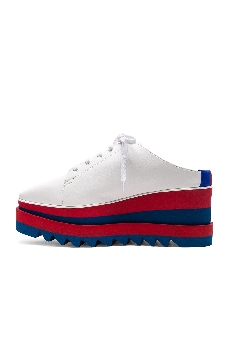 Image 5 of Stella McCartney Platform Wedge Oxford Mules in White, Red & Blue