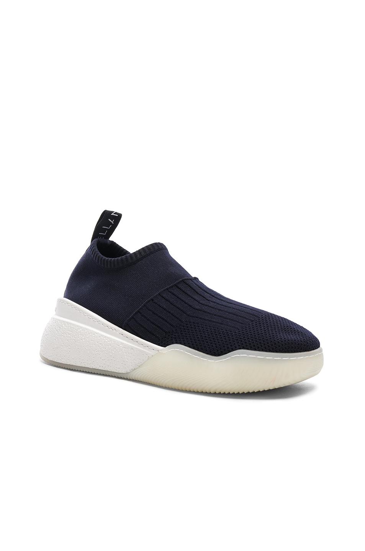 Image 2 of Stella McCartney Loop Sock Sneakers in Dark Blue, Black & White