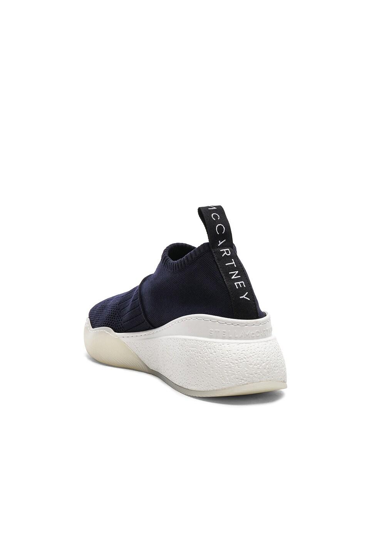 Image 3 of Stella McCartney Loop Sock Sneakers in Dark Blue, Black & White