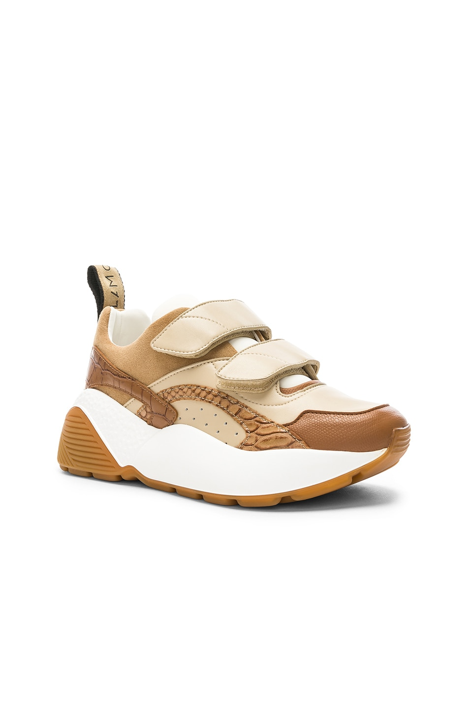 Image 2 of Stella McCartney Eclypse Velcro Strap Sneakers in Tan & White