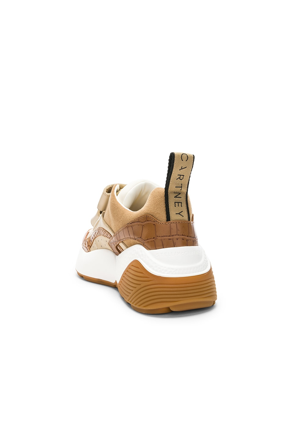 Image 3 of Stella McCartney Eclypse Velcro Strap Sneakers in Tan & White