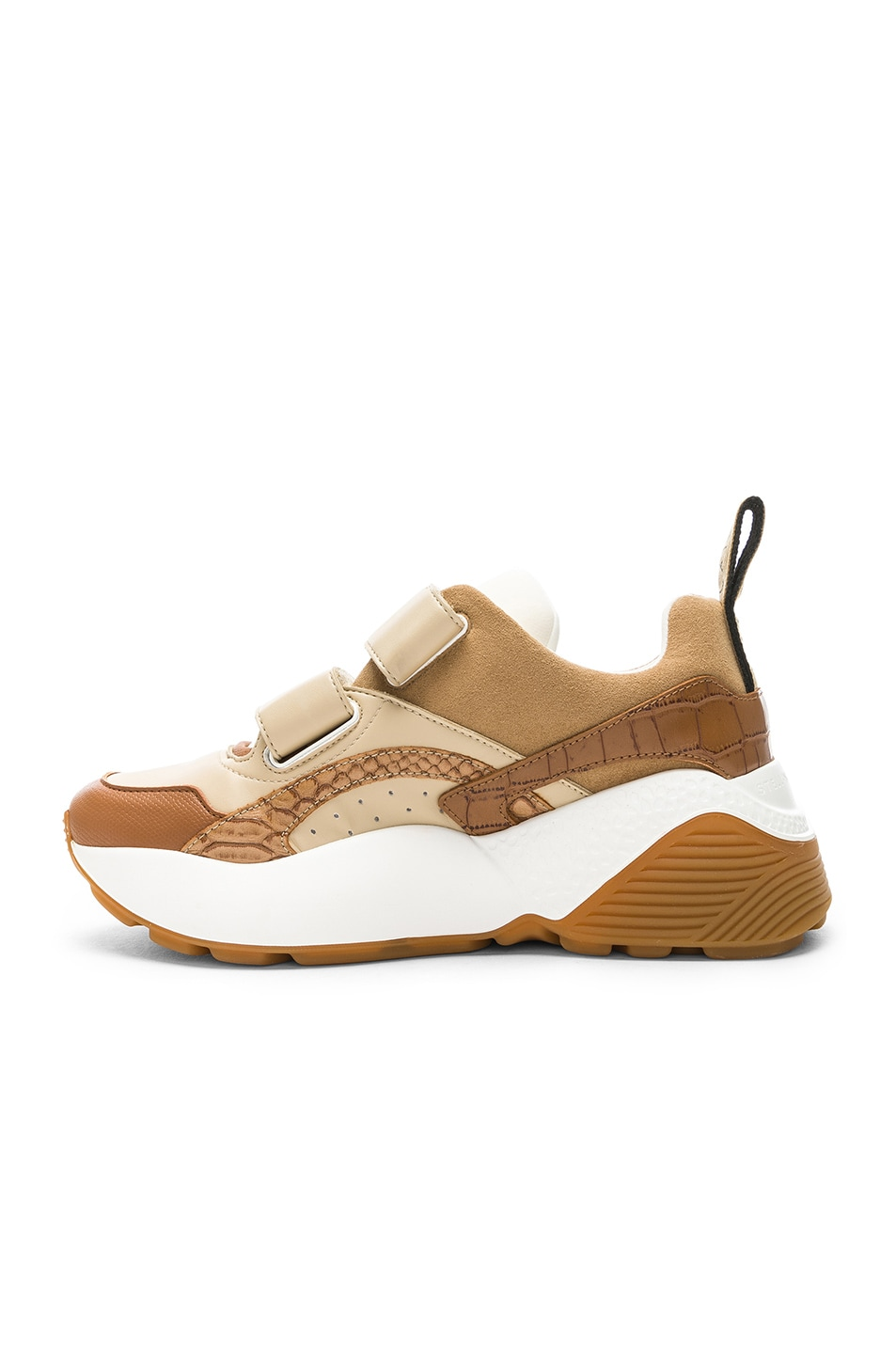 Image 5 of Stella McCartney Eclypse Velcro Strap Sneakers in Tan & White