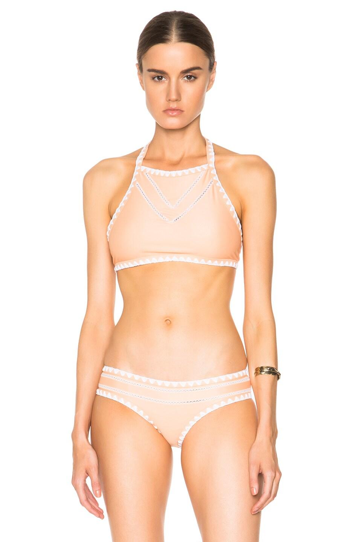 Image 1 of Same Swim It Girl Halter Bikini Top in Natural & White