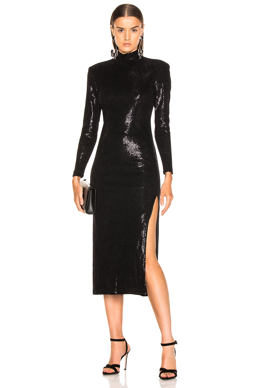 Image 1 of Smythe Knit Sequin Side Slit Dress in Black Velvet Devore