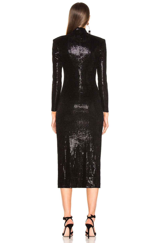 Image 4 of Smythe Knit Sequin Side Slit Dress in Black Velvet Devore
