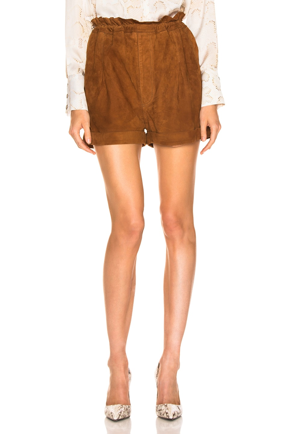 Image 1 of Smythe Suede Paperbag Short in Rust