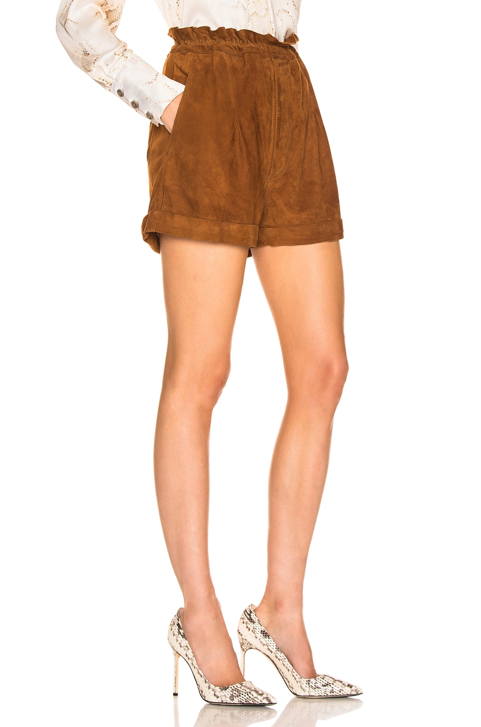 Image 2 of Smythe Suede Paperbag Short in Rust