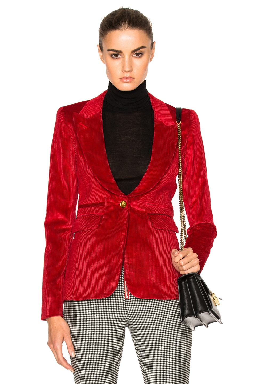 Image 1 of Smythe Peaked Lapel Blazer in Scarlet