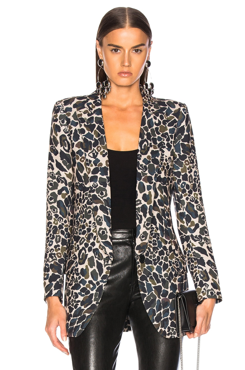 Image 1 of Smythe Long Notched Shawl Blazer in Camo Print