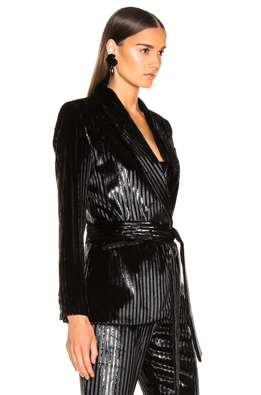 Image 3 of Smythe Velvet Tie Blazer in Black Lame Stripe