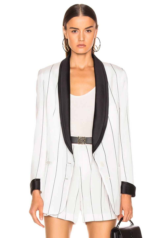 Image 1 of Smythe Salon Blazer in White & Black Diagonal Stripe