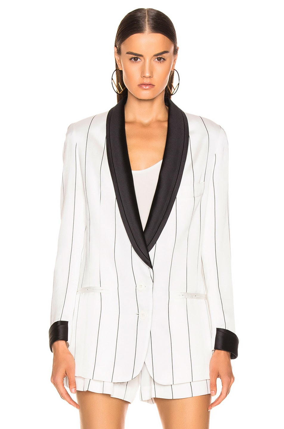 Image 2 of Smythe Salon Blazer in White & Black Diagonal Stripe