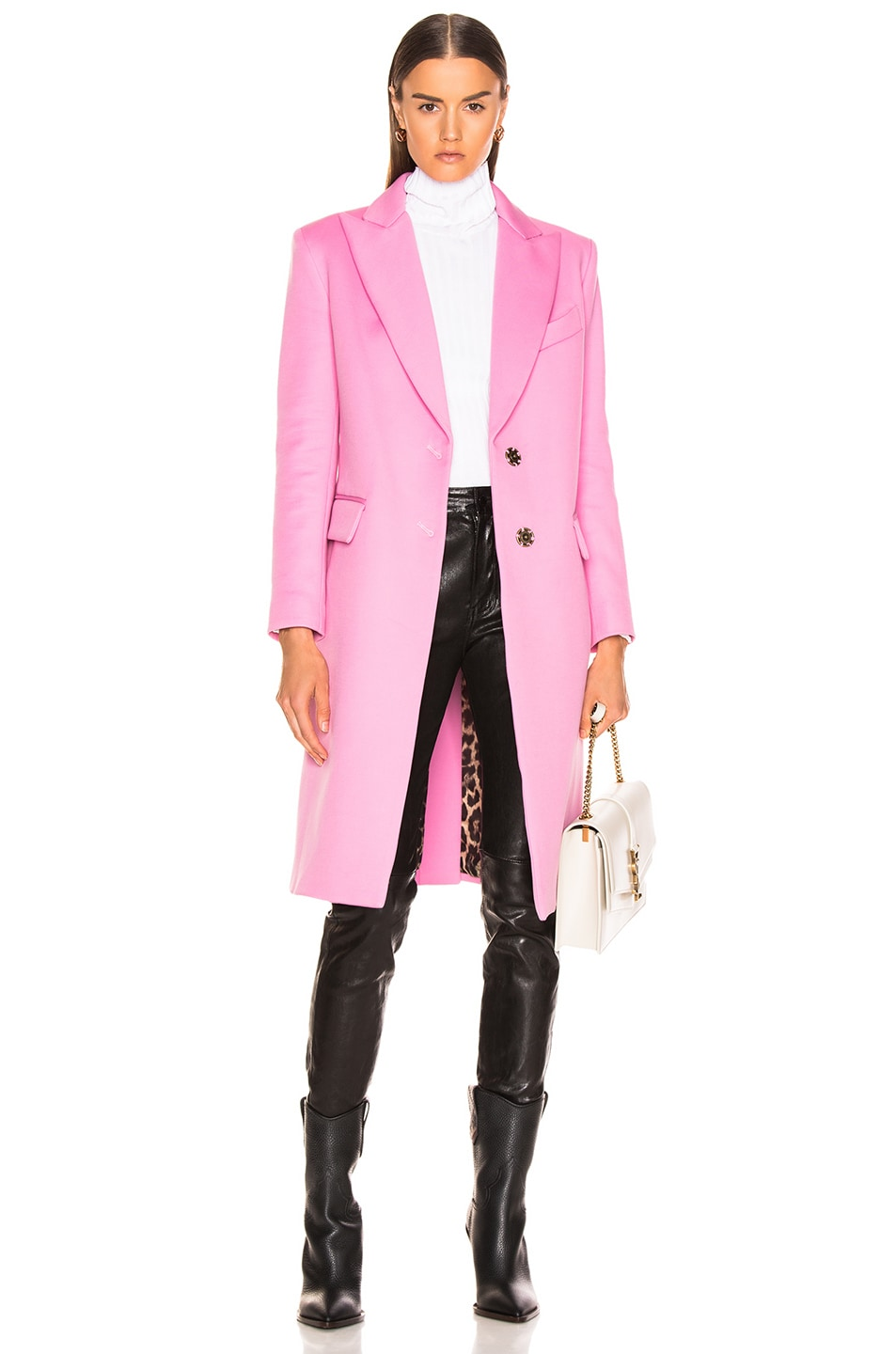 Image 1 of Smythe Peaked Lapel Overcoat in Extra Pink with Leopard Lining