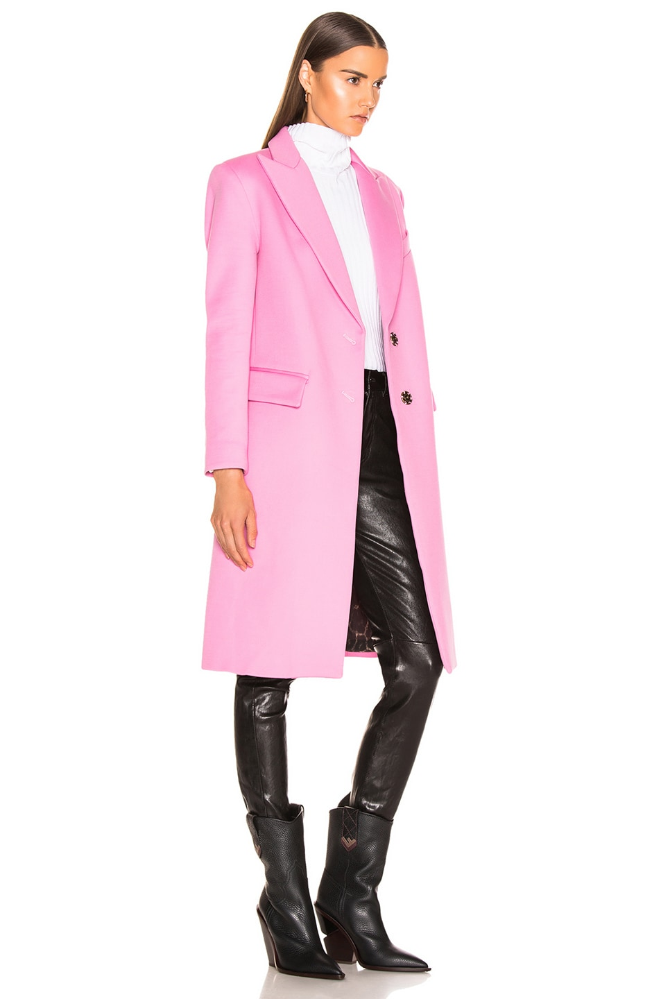 Image 3 of Smythe Peaked Lapel Overcoat in Extra Pink with Leopard Lining