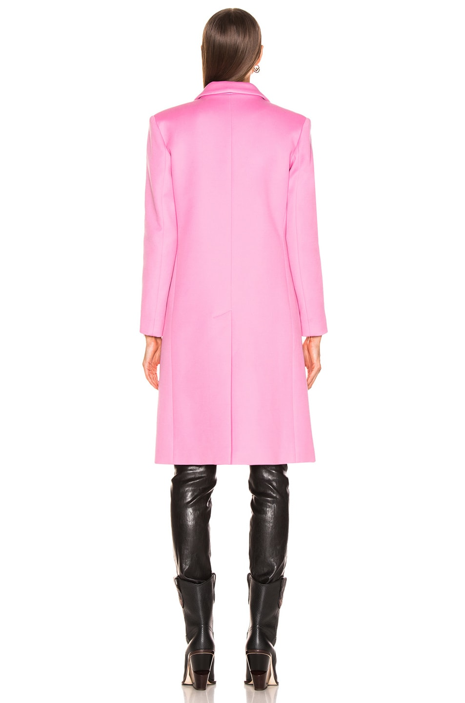 Image 4 of Smythe Peaked Lapel Overcoat in Extra Pink with Leopard Lining